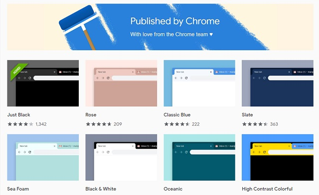 1. Themes Published by the Chrome Team