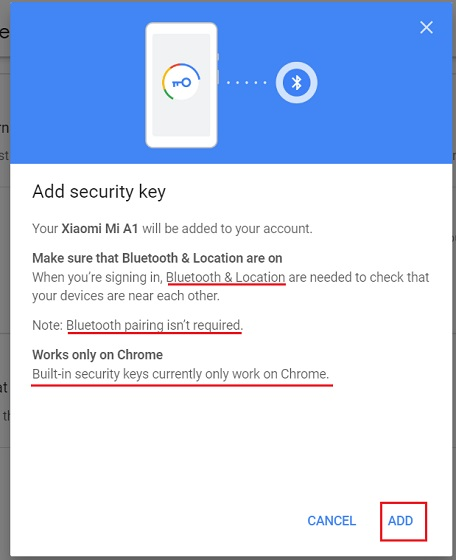 Add Android Device as Security Key to your Google Account 4