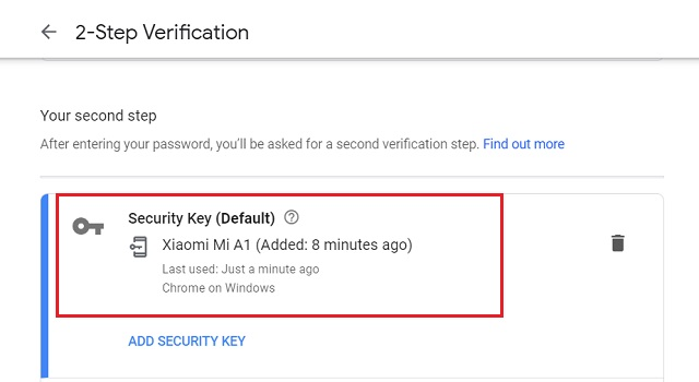 Add Android Device as Security Key to your Google Account 5