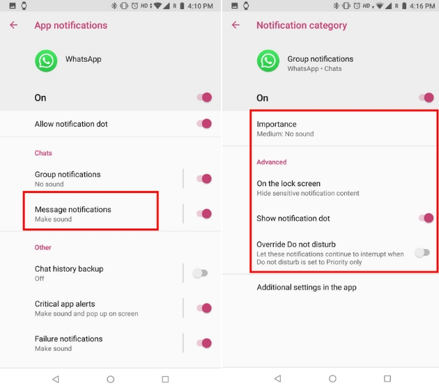 Customize WhatsApp Notifications with Notification Channels on Android 5