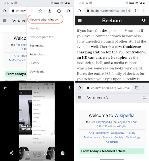 Using two chrome tabs in split screen mode on android