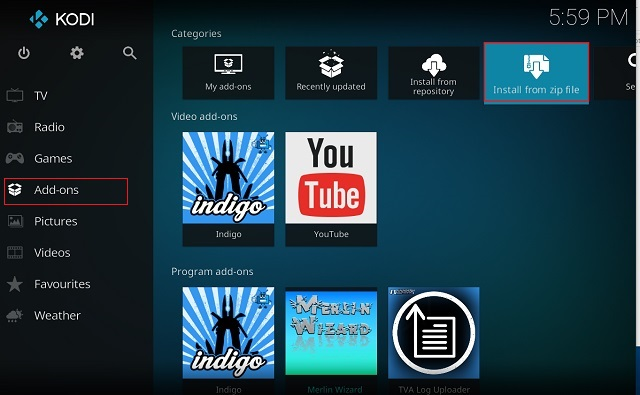 Clear Cache on Kodi Using Indigo Add-on 1