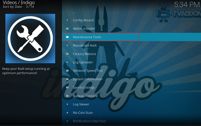 Clear Cache on Kodi Using Indigo Add-on 9