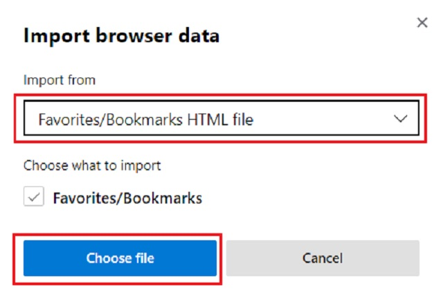 Import Bookmarks in Chromium Build of Microsoft Edge 2