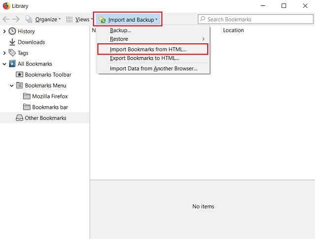 Import Chrome Bookmarks to Firefox 1