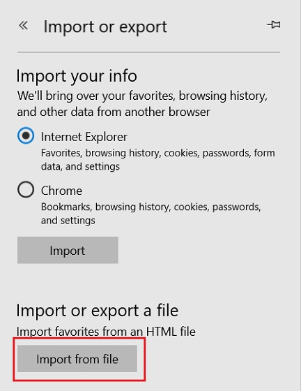 Import Chrome Bookmarks to Microsoft Edge 2