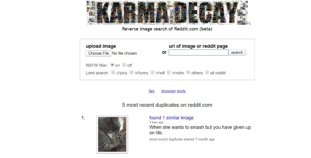 Karma Decay - Best REverse Search engines