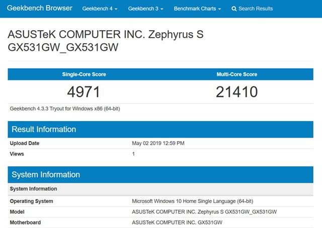 rog zephyrus gx531gw geekbench results