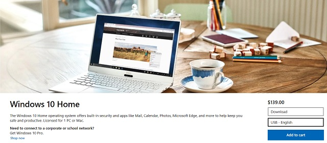 Buy Windows 10 Key from Microsoft