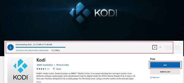Installieren Sie Kodi aus dem Microsoft Store