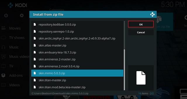 Install Kodi Skin From ZIP File 3
