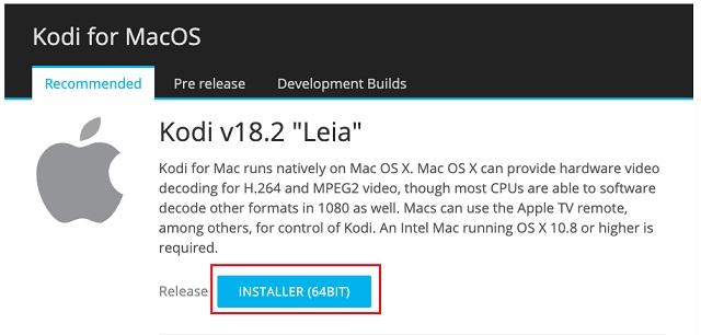 Installieren Sie Kodi unter macOS