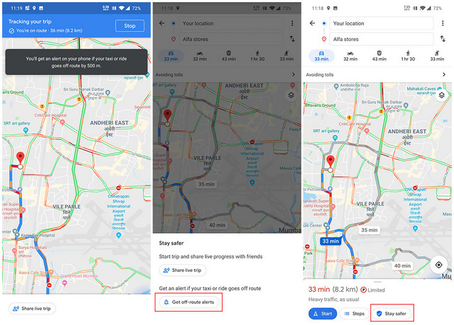 Google Maps Testing 'off-route' Alert Feature in India