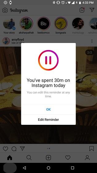 ضع تذكيرًا على الإفراط في استخدام Instagram 2