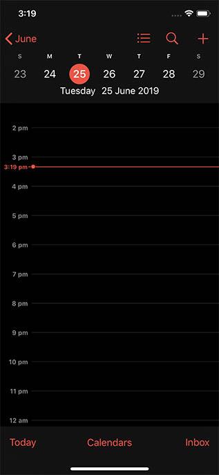 ios 13 calendar dark