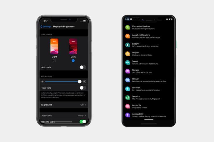 ios 13 dark mode vs android q dark mode featured