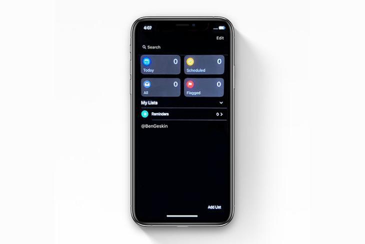 ios 13 reminders app dark mode
