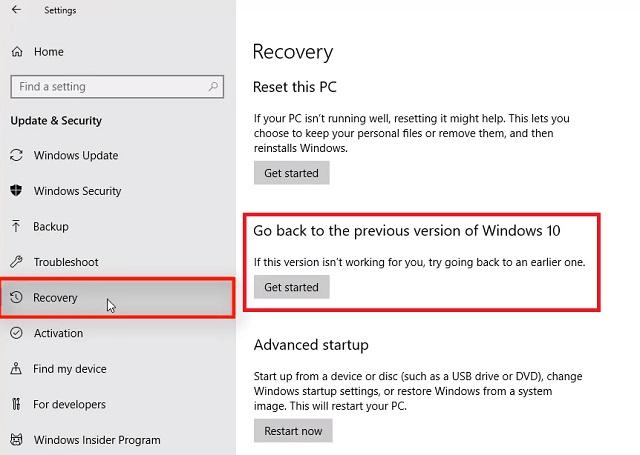 1. Downgrade Windows 10 from Settings 2