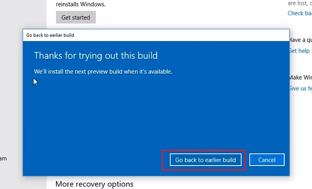 1. Downgrade Windows 10 from Settings 3