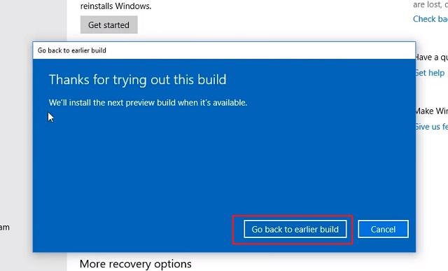 1. Downgrade Windows 10 from Settings 3