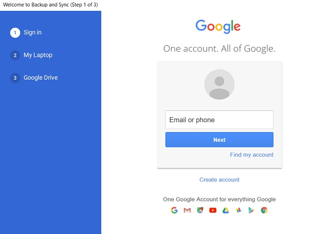 Backup and Sync from Google 3