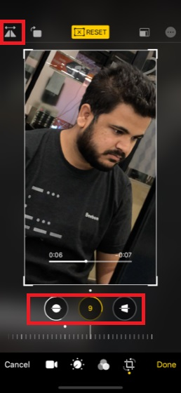 Built-in photo rotating tool in iOS 13