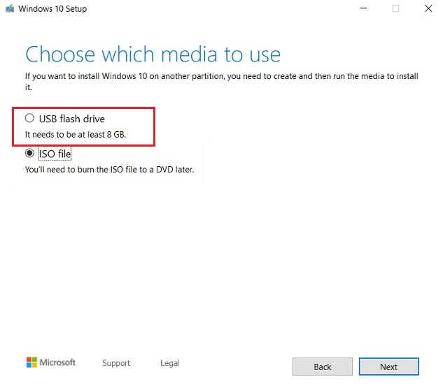 Create Windows 10 Bootable USB with Media Creation Tool