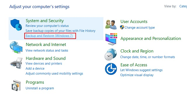 Create a Full Windows 10 Backup with Backup and Restore