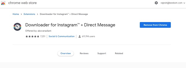 Downloader for Instagram Chrome extension