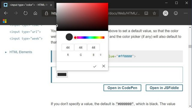 Microsoft Edge Color Picker Gets a Modern UI; May be Available on Other Chromium Browsers