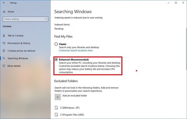 Enhanced Searching in Windows 10