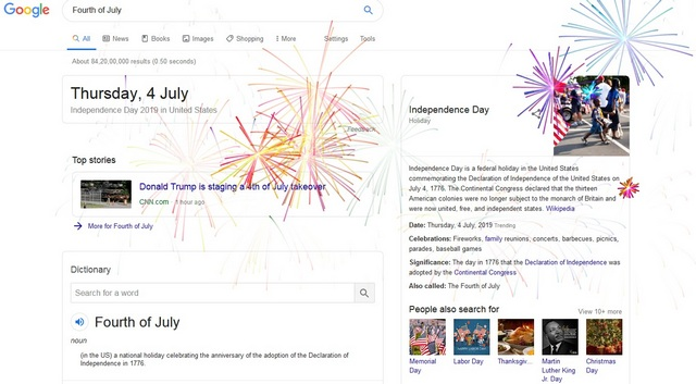 Google's New Easter Egg Celebrates 4th of July with Fireworks on Your Screen