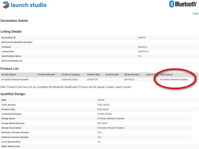 Xiaomi's 'Mi Outdoor Bluetooth Speaker' with Bluetooth 5.0 Gets Certified