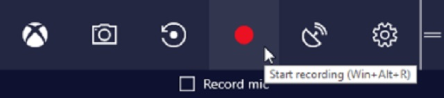 Start recording screen in Windows 10