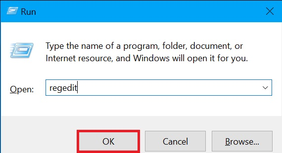 Registry editor on Windows 10