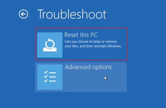 Reset Windows 10 from Advanced Startup 4