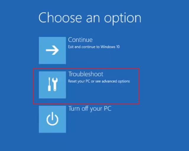 Reset Windows 10 from Windows Advanced Recovery 2