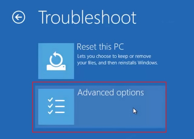 Reset Windows 10 from Windows Advanced Recovery 3