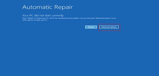 Reset Windows 10 from Windows Advanced Recovery