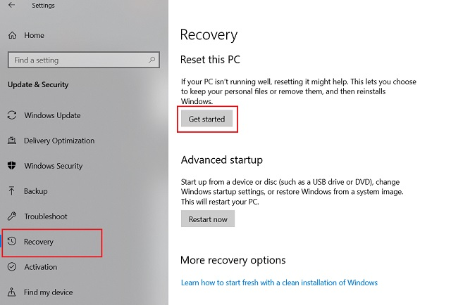 Reset Windows 10 from Windows Settings 2