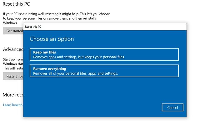 Reset Windows 10 from Windows Settings 3