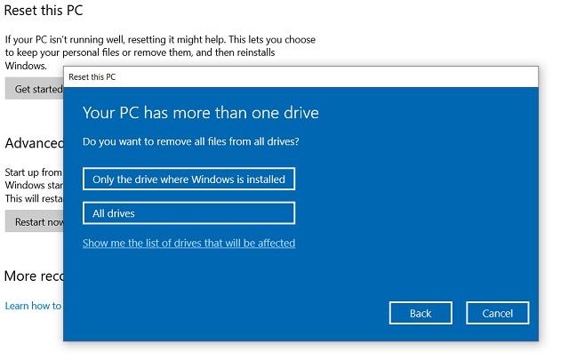 Reset Windows 10 from Windows Settings 4
