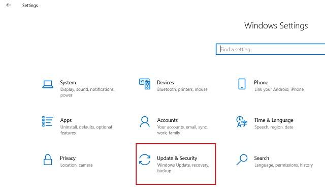 Reset Windows 10 from Windows Settings