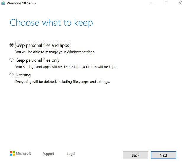 Reset Windows 10 with Windows Installer 6