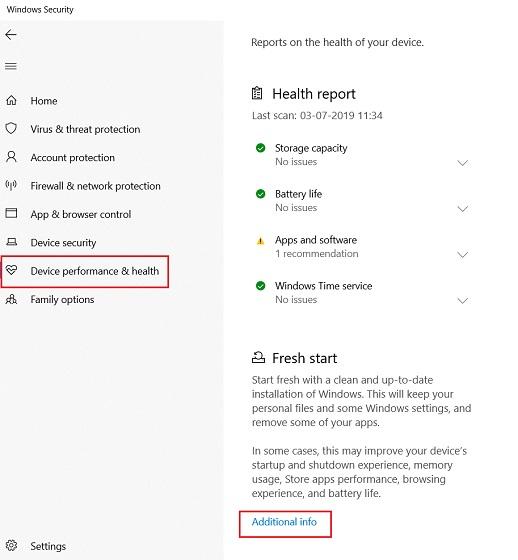 Reset Windows 10 with Windows Security 2