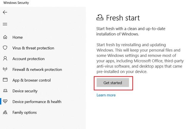 Reset Windows 10 with Windows Security 3