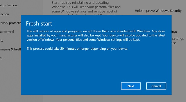Reset Windows 10 with Windows Security 4