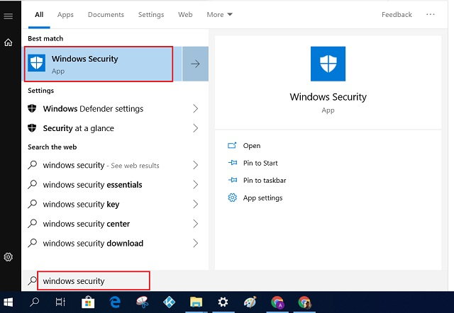 Reset Windows 10 with Windows Security