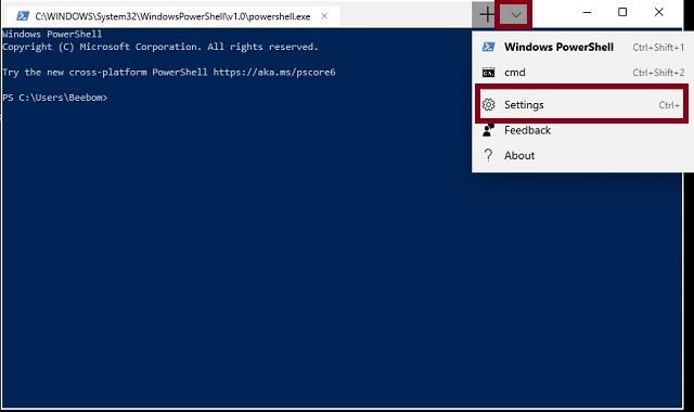 Select Settings in Windows 10 Terminal app