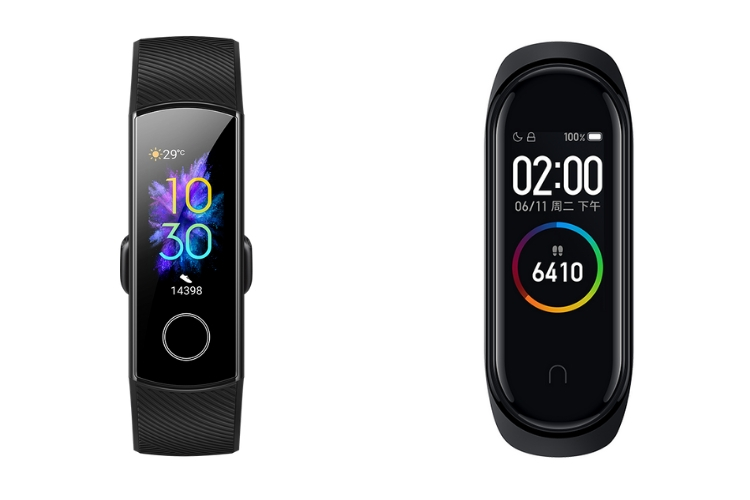 Honor Band 5 vs Mi Band 4 - displays